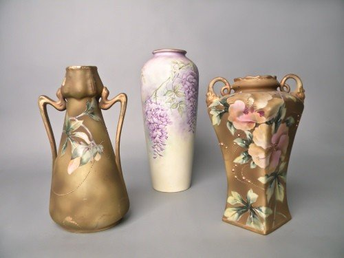 518: Two Nippon painted vases, 9 3/4'' h., 11'' h., tog