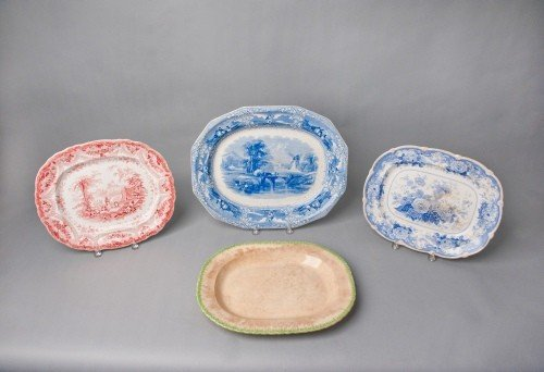 522: Three Staffordshire platters, 19th c., together w