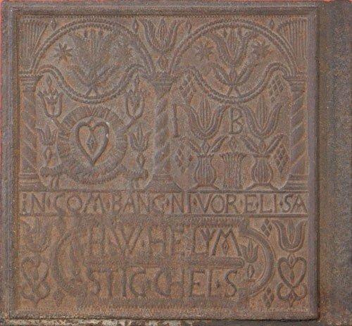 6: H. Wilhelm Stiegel cast iron stove plate, ca. 17