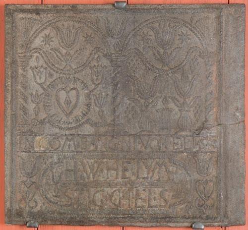 7: H. Wilhelm Stiegel cast iron stove plate, mid 18