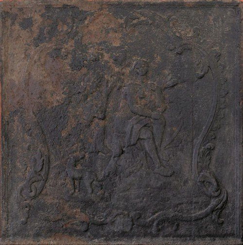 9: Cast iron stove plate, mid 18th c., depicting a
