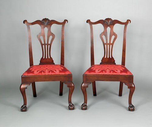 10: Pair of Delaware Valley Chippendale walnut dinin