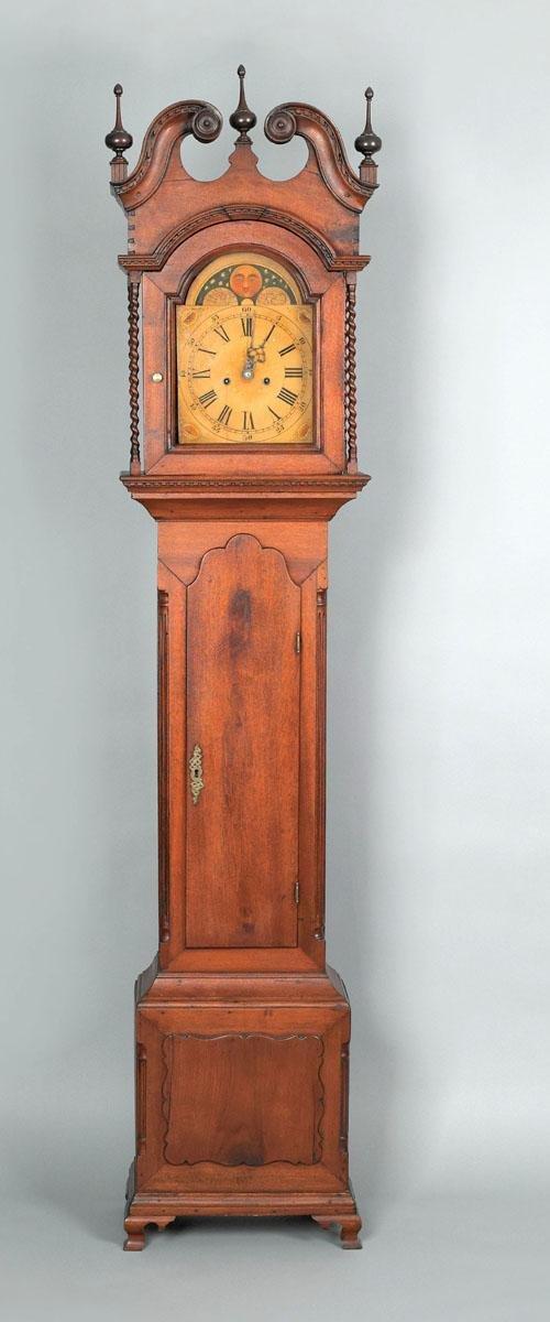 16: Pennsylvania Chippendale walnut tall case clock,
