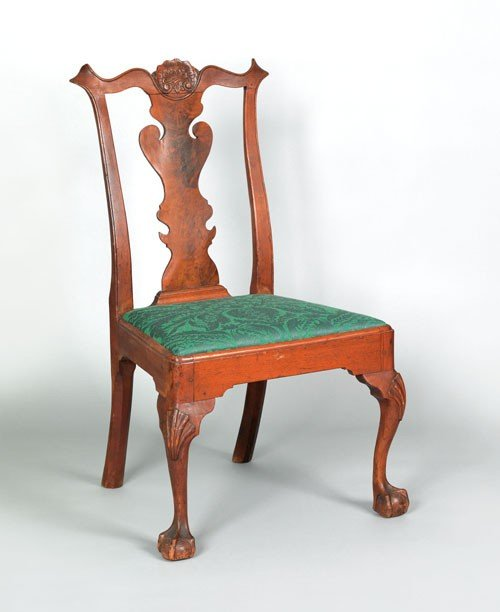 18: Delaware Valley Chippendale walnut dining chair,