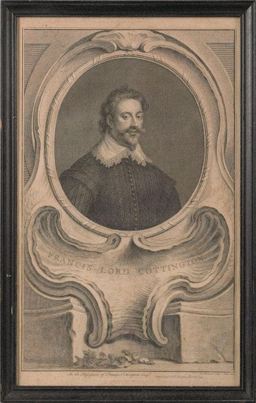 21: Ten framed engravings of English nobles by Knapt
