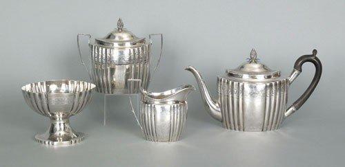 255: New York four piece silver tea service, ca. 1800