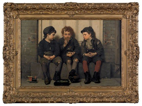 417: John George Brown (American, 1831-1913), oil on