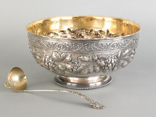 998: Gorham sterling silver punch bowl and ladle wit