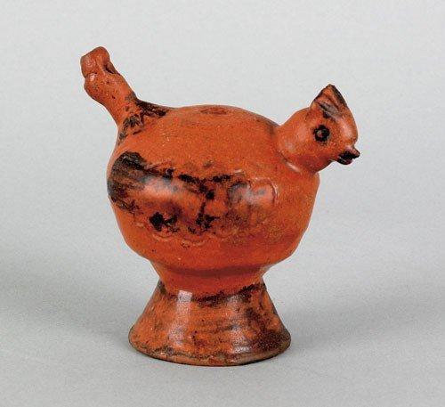 6: Pennsylvania redware bird whistle, mid 19th c.,