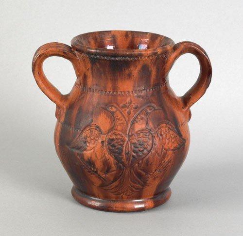 21: Pennsylvania redware two handled vase, attribute
