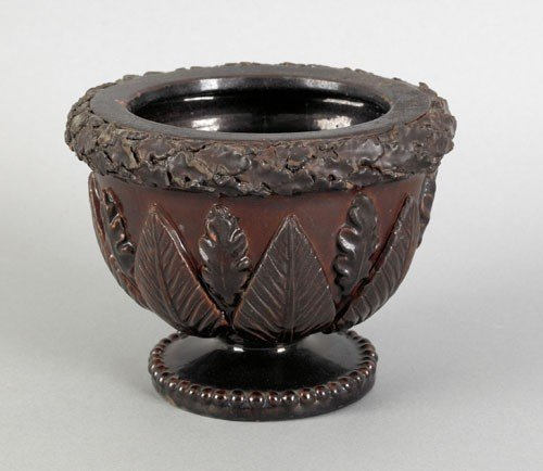 23: Pennsylvania redware footed bowl, mid 19th c.,