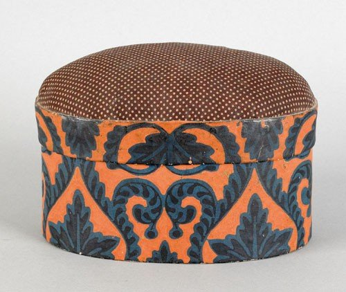 229: Wallpaper covered sewing box, mid 19th c., with