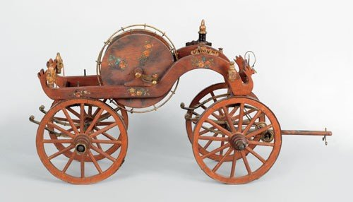 2: 1860's style painted wood and iron model of a ha
