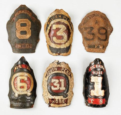 4: Six American painted leather fire shields, 19th