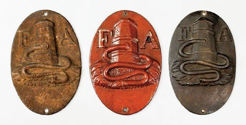 5: Three Fire Association cast iron fire marks, iss
