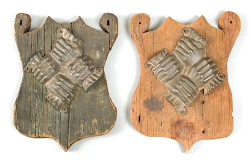 6: Two cast lead fire marks, probably early 20th c.
