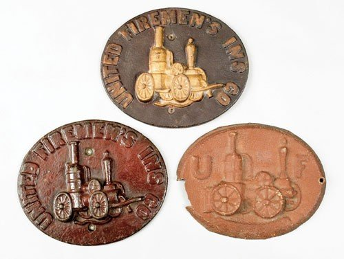 13: Three cast iron fire marks for United Firemen's