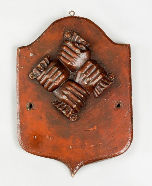 18: Lead clasped hands fire mark, ca. 1774 for the