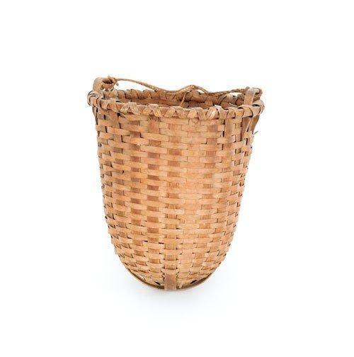 601: Unusual splint feed basket, 19th c., 18'' h.