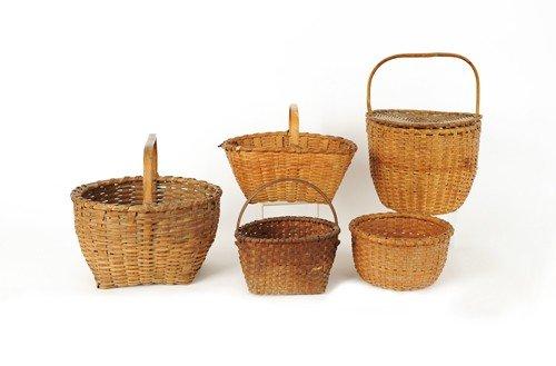 602: Five splint gathering baskets, 19th c., tallest