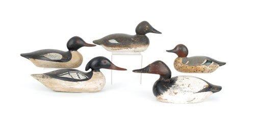609: Five Mason duck decoys, 20th c., to include Merga