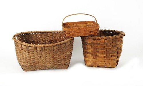 610: Three splint baskets, 19th c., tallest - 12 1/2''
