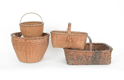 611: Four splint baskets, 19th c., tallest - 11 1/2'' h