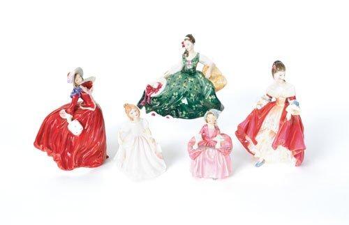 624: Five Royal Doulton porcelain figures, 20th c., ta