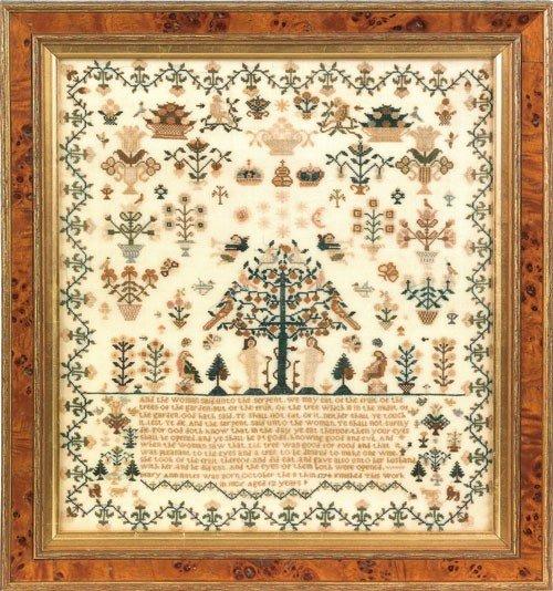 1: English silk on linen sampler dated 1806, wroug