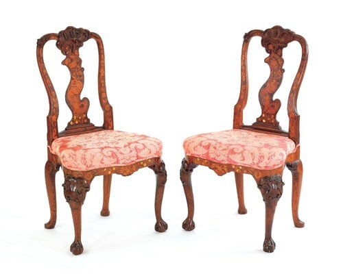 2: Pair of Dutch marquetry dining chairs, mid 18th