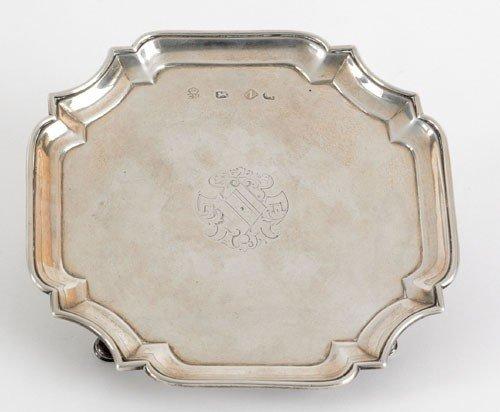 4: English silver waiter, 1728-1729, bearing the t