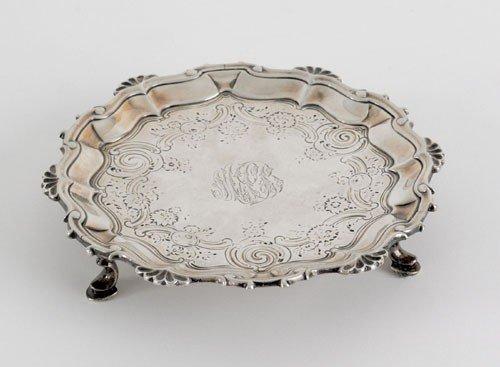 6: English silver waiter, 1754-1755, bearing the t