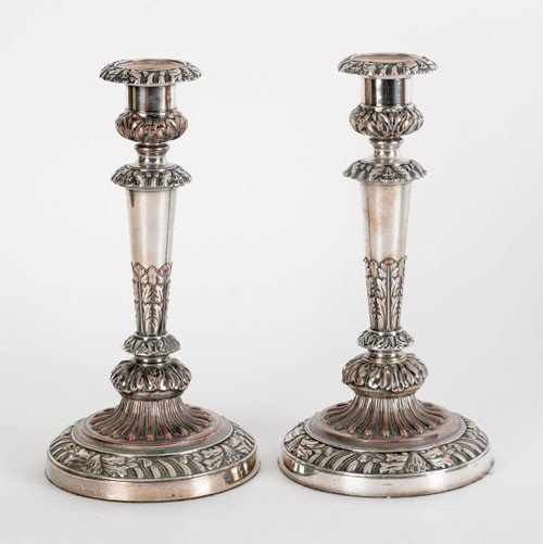 7: Pair of Matthew Boulton Sheffield plated candles