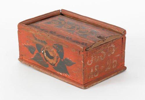 12: Northern European painted pine slide lid box, ea