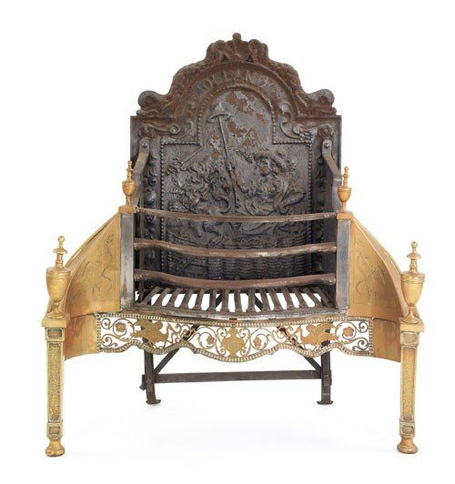 13: George III iron and brass fire grate, ca. 1780,