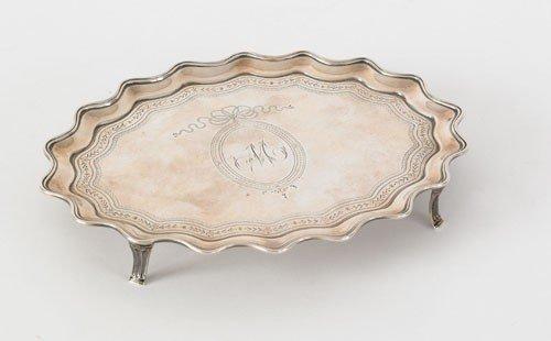 15: English silver waiter, 1789-1790, bearing the t