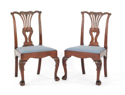 23: Pair of George III mahogany dining chairs, ca. 1