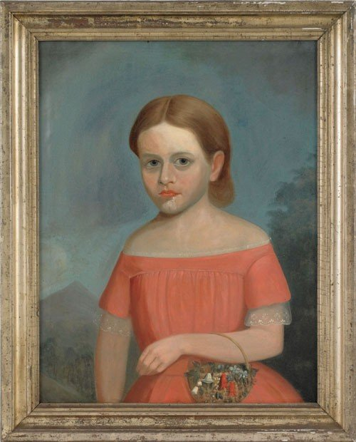 279: Oil on canvas portrait of a young girl, inscrib