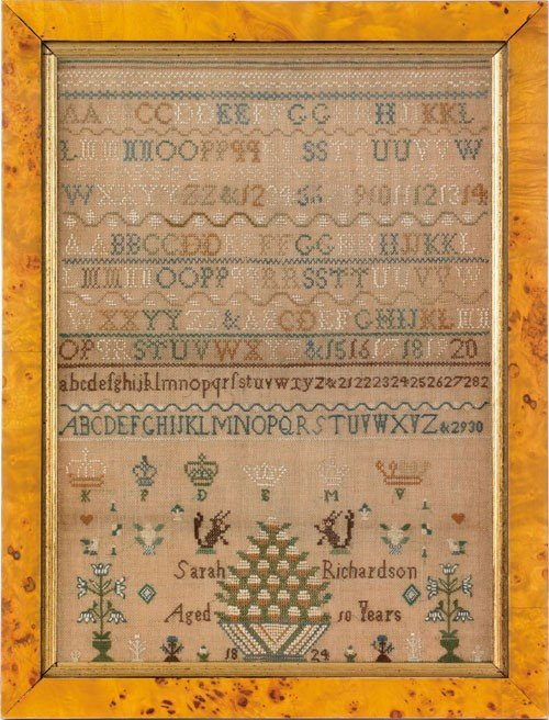 285: Silk on linen sampler dated 1824, wrought by Sa