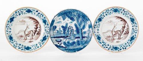 286: English blue and white Delft plate, 18th c., de