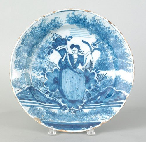 291: Delft blue and white charger, mid 18th c., deco