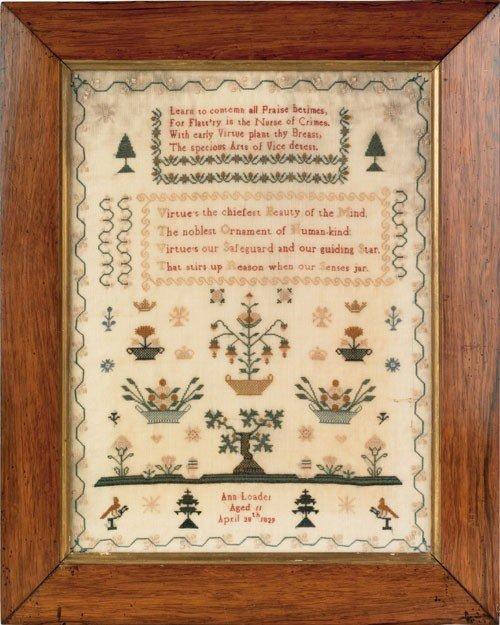292: Silk on linen sampler wrought by Ann Loader, 182