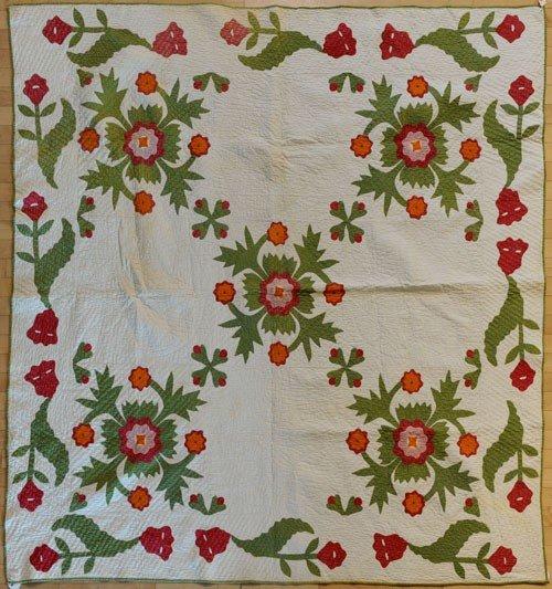 297: Pennsylvania appliqué quilt, late 19th c., in t