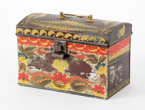 298: Tole document box with vibrant floral decoratio