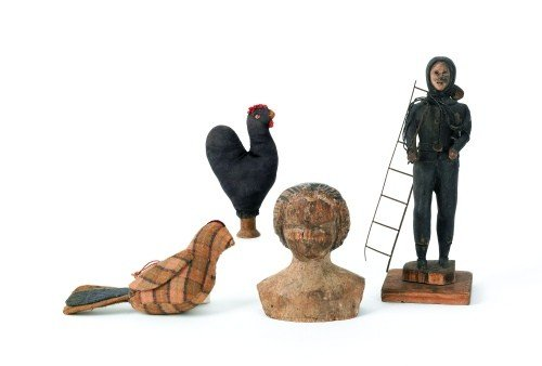 3: Carved wood doll head, 19th c., together with a f