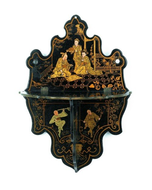 4: Oriental lacquer wall shelf, early 20th c., 10 3/