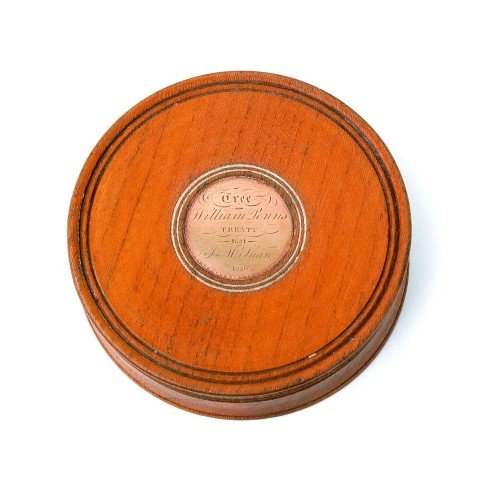 6: Turned elm patch box with gold plaque inscribed
