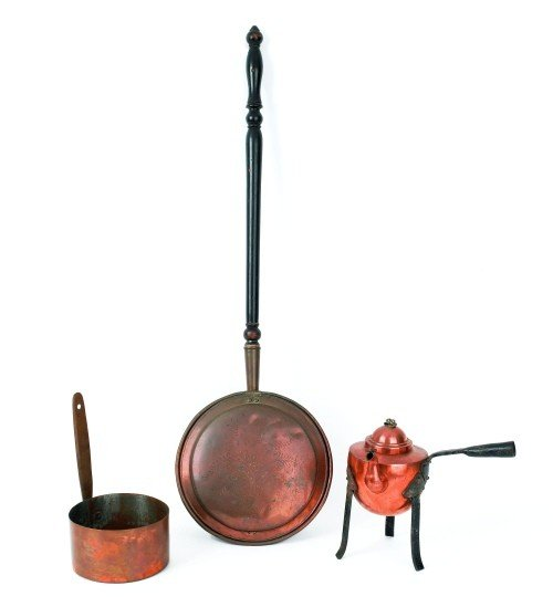 8: Punch decorated copper bedwarmer, 19th c., 42 1/2