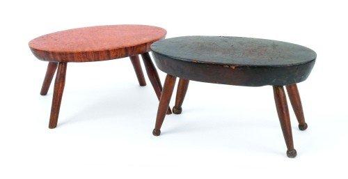 9: Tiger maple splay leg stool, 19th c., 6'' h., 12''