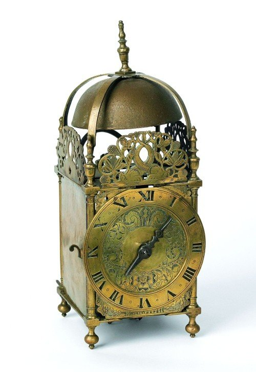 10: English William & Mary style brass lantern clock,